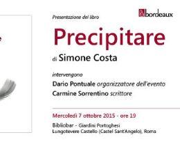 """Locandina: Presentazione del libro """"Precipitare"""" al Bibliobar"""