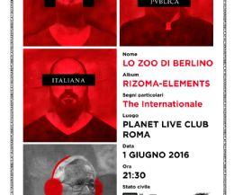 Locandina: Lo Zoo di Berlino live al Planet Roma