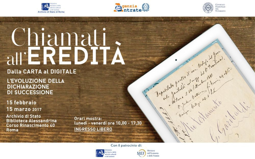 Chiamati all 39 eredit dalla carta al digitale archivio di for Successione 2017