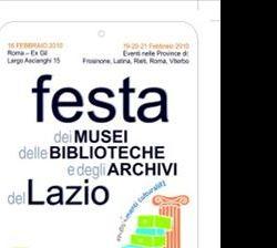 Altri eventi: Seconda Festa delle Biblioteche, dei Musei, e degli Archivi del Lazio