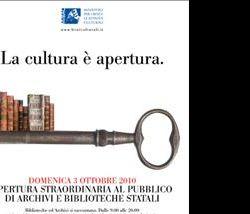 Altri eventi: Domenica di carta - apertura straordinaria e gratuita al pubblico delle biblioteche e degli archivi