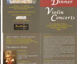 """Altri eventi: """"Il violino romantico"""" per violino e pianoforte. Ogni sabato dal 16 Ottobre 2010 al 8 Gennaio 20"""