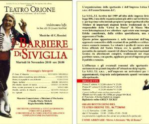 """Altri eventi - """"IL BARBIERE DI SIVIGLIA"""" A ROMA ACCENDE DI NOTE IL TEATRO ORIONE."""