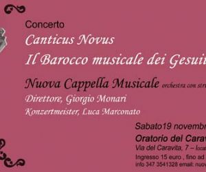 Concerti - 19 novembre Canticus Novus - CONCERTO: il Barocco musicale dei Gesuiti Oratorio Caravita