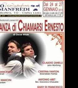 "Spettacoli: ""L'IMPORTANZA DI CHIAMARSI ERNEST"" di Oscar Wilde per la regia di A. Di Francesco"