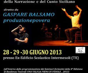 Spettacoli: L'autore e attore trapanese Gaspare Balsamo proporrà i cunti epici e contemporanei