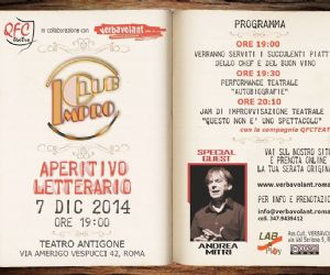 Spettacoli: Torna l'aperitivo Letterario al Teatro Antigone