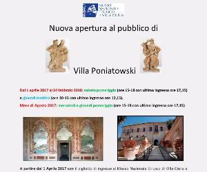 Mostre: Nuovi orari di apertura di Villa Poniatowski