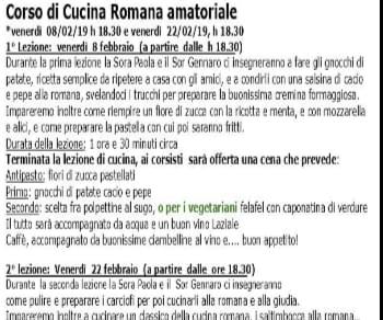 Locandina: Corso di Cucina Romana amatoriale