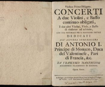 Verrano eseguite le musiche di Francesco Onofrio Manfredini