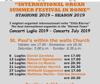 Concerti - International Organ Summer Festival in Rome 2019