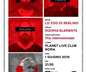 Concerti: Lo Zoo di Berlino live al Planet Roma